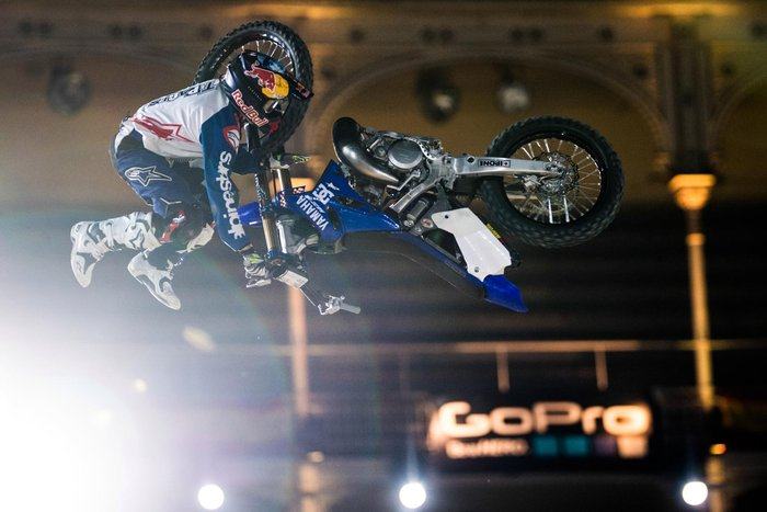 Tom Pages of France performs during the qulifying at the Red Bull X-fighters in Madrid, Spain on June 23, 2016.